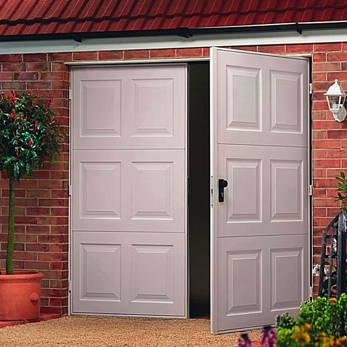 Side hinged PVC garage doors